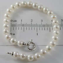 18K WHITE GOLD BRACELET 7.5 INCHES WITH WHITE 6 MM FW PEARLS, MADE IN ITALY - $94.53