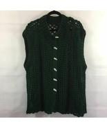 Handmade Women Crochet Cardigan Sweater Sleeveless Green Loose Chunky Kn... - $25.46