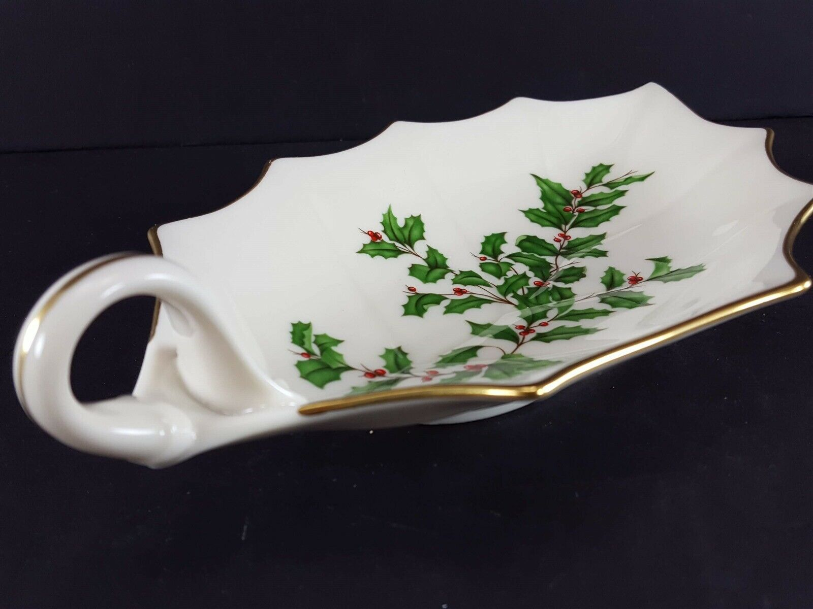 "LENOX China Holiday Dimension 10-1/8"" Leaf Dish Handled Dinnerware image 4"
