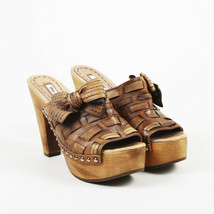 Miu Miu Brown Leather Clog Sandals SZ 37.5 - $120.00