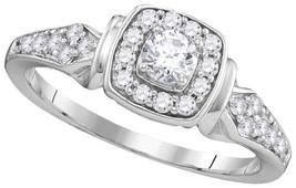 10k White Gold Round Diamond Round Halo Bridal Wedding Engagement Ring 1... - $629.00