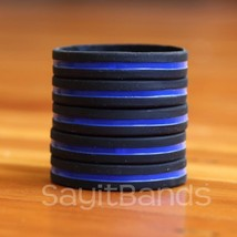 5 Thin Blue Line Wristbands - Police / Law Enforcement Awareness Bracelet Bands - $5.82