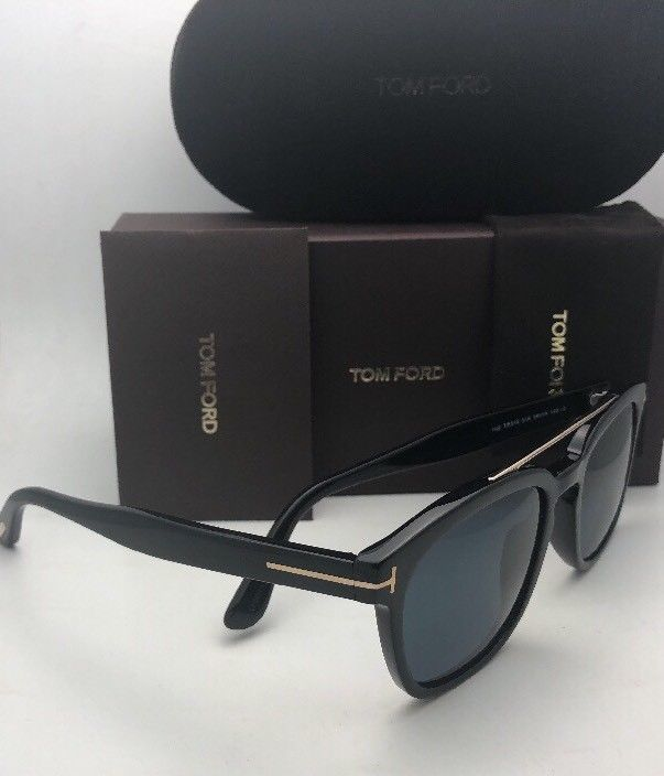 New TOM FORD Sunglasses HOLT TF 516 01A 54-19 145 Black & Gold w/ Blue Grey Lens