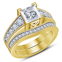 Princess Cut White CZ Bridal Wedding Ring Set 14k Yellow Gold Plated 925... - $89.33