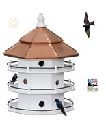 12 ROOM PURPLE MARTIN BIRDHOUSE - Large 3 Story Copper Roof Bird House A... - $393.99