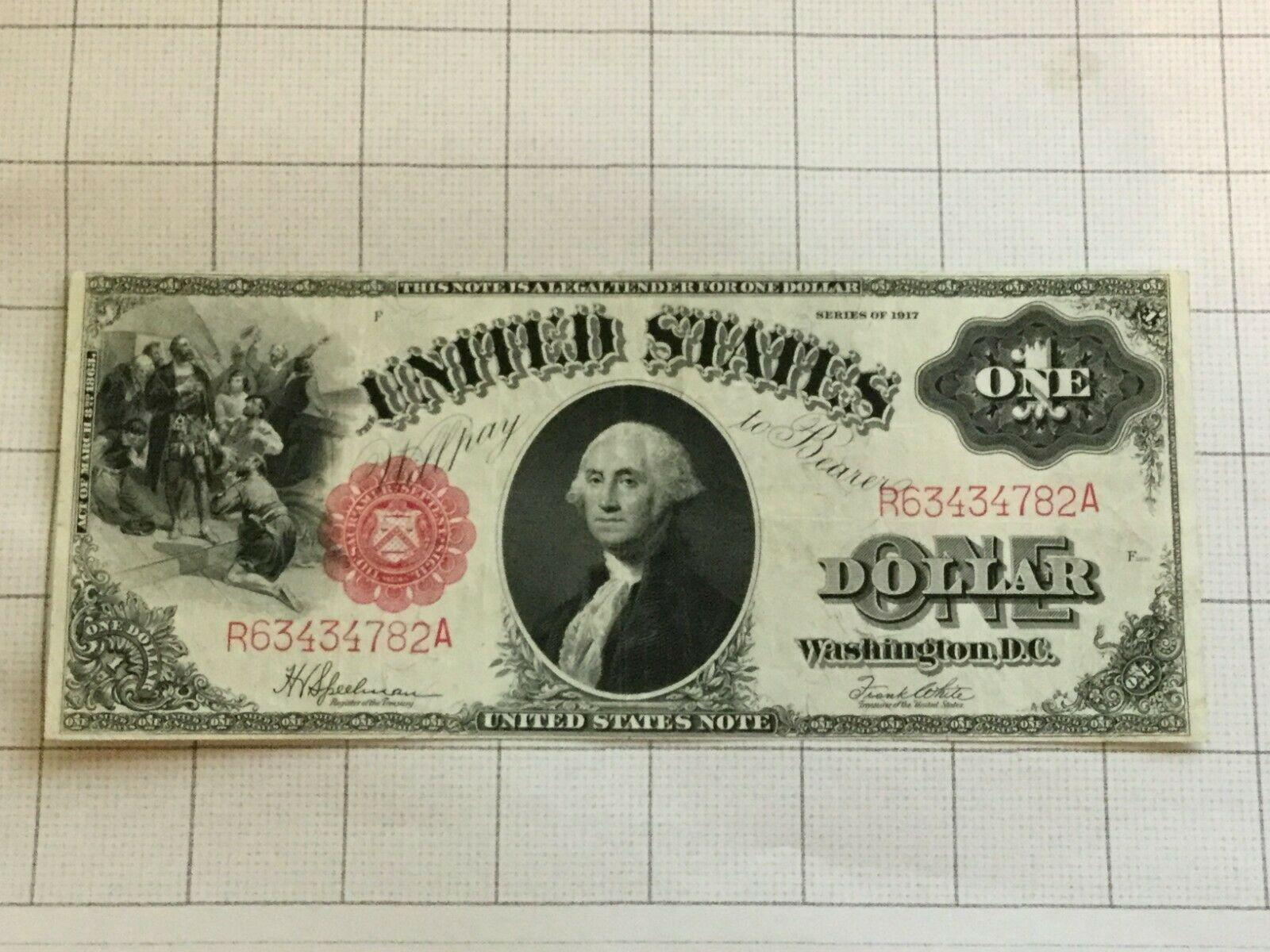 Primary image for 1917 Series $1 One Dollar US Large Legal Tender Red Seal Bank Note