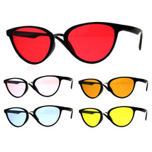 Womens Pimp Color Cat Eye Thin Horn Rim Plastic Sunglasses - $12.95