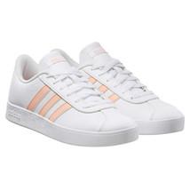 NEW Adidas Kids Girls White Pink VL Court 2.0 Skateboard Tennis Gym Shoes EE6901 image 1