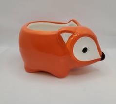 "Ceramic Animal Planter, 5"" Orange Flora the Fox Pot for succulents plants"