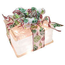 "Lighted Glass Block with 4"" White Border - Holiday Ornament Ribbon - $34.60"
