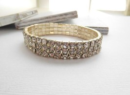 Retro Shimmering Clear Rhinestone Triple Row Stretch Bangle Bracelet N30 image 2