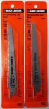 """Black & Decker 75-484 Bi-Metal/Wood Cut Recip Saw Blade 6"""" 6Tpi USA 2PKS - $3.47"""
