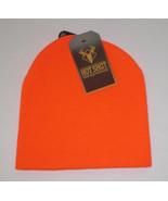 Blaze Orange Beanie Hat Mens 2 Ply Hot Shot Hunting 100% Acrylic New Bright - $9.89