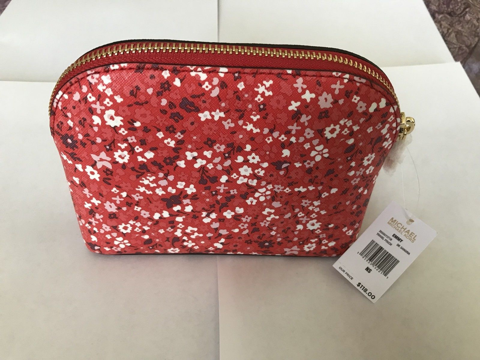 a1217b791e41 Michael Kors Emmy Dark Sangria Floral PVC Leather Travel Pouch Cosmetic Case