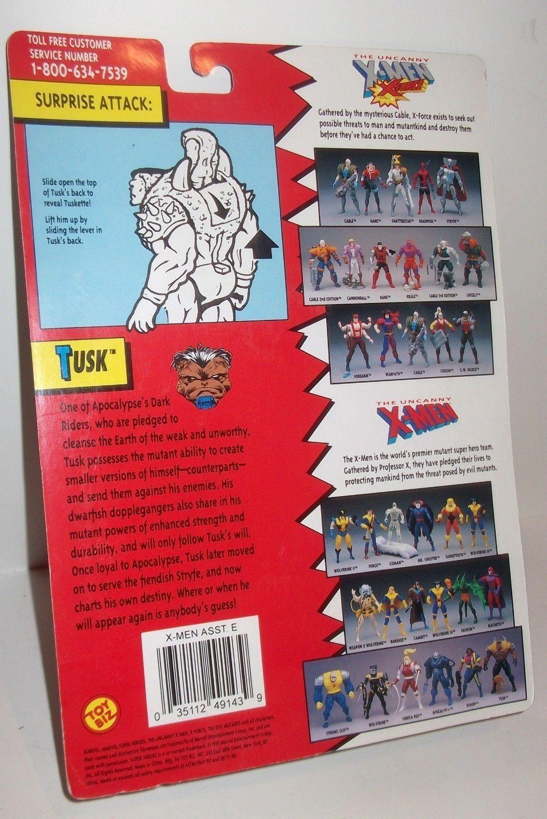 "TOY BIZ 1993 X-MEN TUSK FIGURE MOC Uncanny X-Men The Evil Mutants 5"" SHARP"