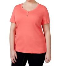 KAREN SCOTT Women's Henley Top Solid Coral Short-Sleeve PLUS SIZE 1X 2X - $32.97