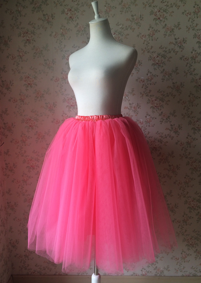 Women A Line Short Knee Length Tutu Tulle Skirt High Waist Tutu Ballet Skirt Red
