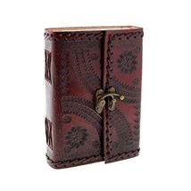 "Handmade Large 8"" Embossed Leather Journal Celtic two latches blue stone... - $24.01"