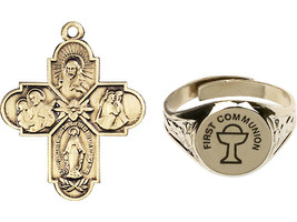 4-Way Medal with an adjustable ring - First Communion Gold Plated Set