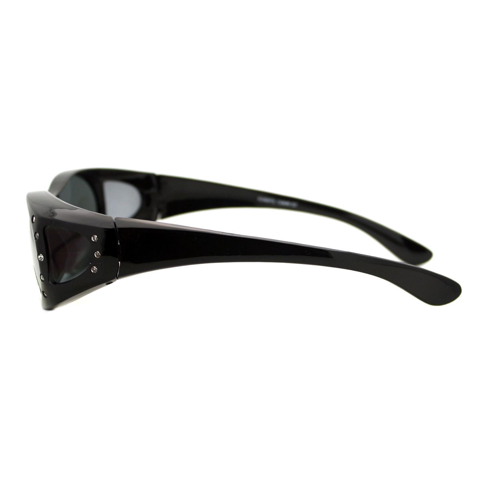 Womens Fit Over Glasses Polarized Sunglasses Oval Rhinestone Frame