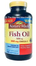 Nature Made 1200 mg Fish Oil 360 mg Omega-3 230 softgels each 4/2023 FRESH! - $15.97