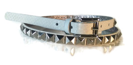 NWT MICHAEL KORS Studded White Off White Silver Genuine Leather Belt - $25.49