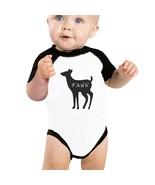 Buck Doe And Fawn Baby Black And White Baseball Shirt - $15.99