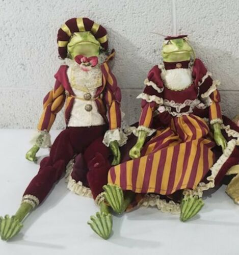 "Lot (2) Katherine's Collection Wayne Kleski 16"" Tall Frog Boy Girl Doll Retired"
