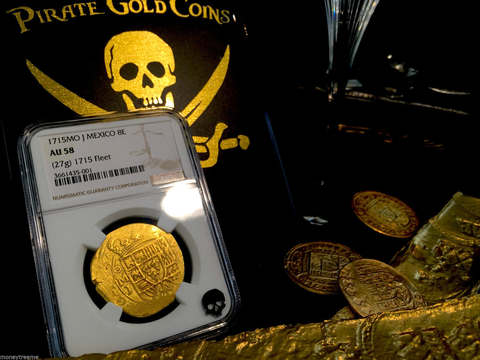"MEXICO 8 ESCUDOS DATED! ""1715 PLATE FLEET SHIPWRECK"" 1715 NGC 58 GOLD DOUBLOON"