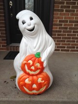 Halloween drainage ghot with 2 pumpkins blow molds yard decor plastic li... - $99.99