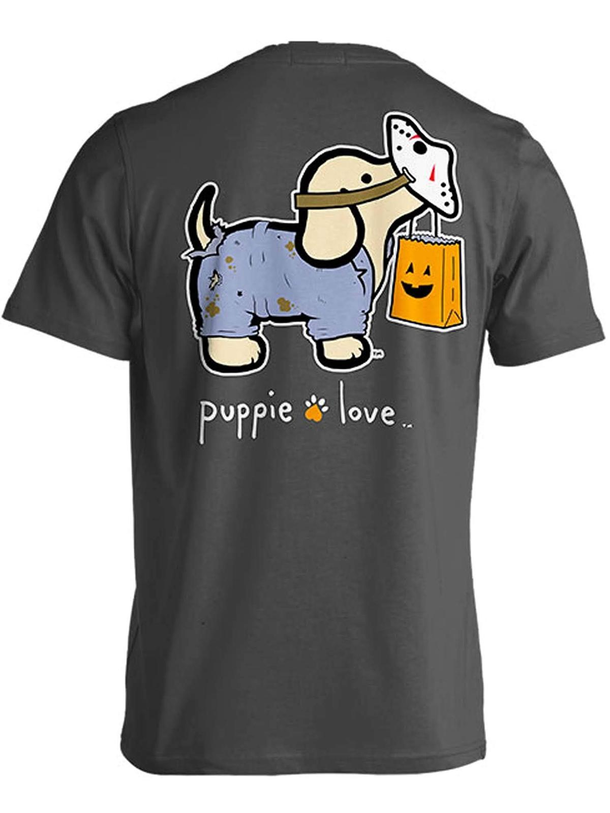 Puppie Love Rescue Dog Adult Unisex Short Sleeve Graphic T-Shirt,Trick-Treat Pup