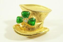 Avon St Patrick Hat Shamrock Green RS Brooch Pin Tac Tack Gold Plate Irish - $10.40