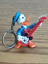 Vintage Walt Disney Applause Donald Duck with Mickey Mouse Guitar Keychain  - $7.87