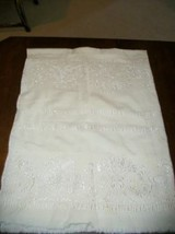CHIC ITALIAN FRENCH MATELASSE WHITE ON WHITE TABLECLOTH BED COVERLET NOT... - $105.44