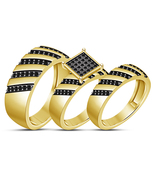 His Her Wedding Anniversary Trio Ring Set 14k Yellow Gold Finish 925 Rea... - $152.99