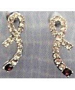GE1 CLEAR CRYSTALS RIBBON with a red stone post earrings in gift bag - $3.95