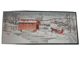13.5 x 5.5 Elsa Williams Covered Bridge Country Winter Counted Cross Stitch Kit - $17.45