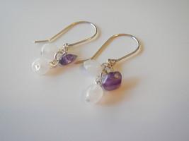 Gemstone Cluster Dangle Earrings, Rose Quartz, Purple Flourite, Natural ... - $15.00