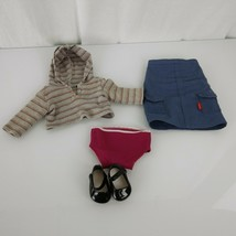 American Girl Authentic Original Doll Clothes Clothing Gray Stripe Hoodie Skirt - $22.76