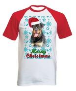 Rottweiler Santa snow P1- COTTON BASEBALL TSHIRT ALL SIZES - $19.59