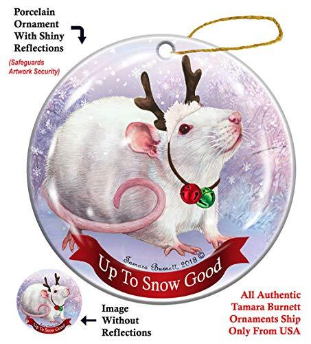Primary image for Holiday Pet Gifts Rat White Pink Eyed Porcelain Christmas Ornament