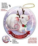 Holiday Pet Gifts Rat White Pink Eyed Porcelain Christmas Ornament - $19.49