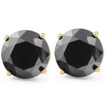 2 Ct Black Diamond Studs 14k Yellow Gold Finish 925 Sterling Silver Earrings - £33.17 GBP