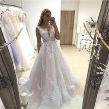 V Neck Bridal Gowns Backless Sleeveless Full Appliques Lace Bridal Dress