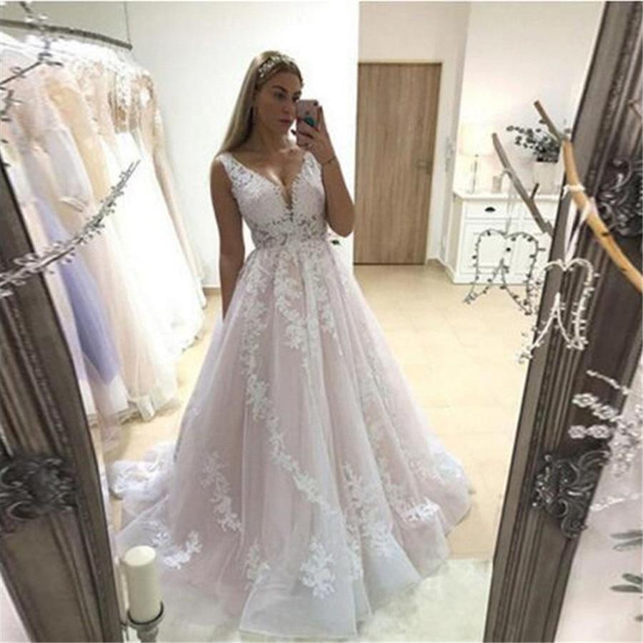 Ing dress 2020 v neck bridal gowns backless sleeveless full appliques lace bride dresses country