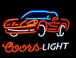 Corvette Coors Light Neon Sign Handcrafted Real Glass Tube Neon Light Sign - $124.95+