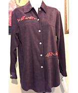 Napa Valley Petite Stretch Chocolate Brown Embroidered Shirt Jacket Smal... - $15.14