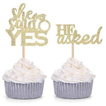 Set of 24 Gold Glitter He Asked/She Said Yes Cupcake Toppers for Wedding/Bridal