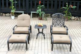 Cast aluminum patio conversation set 5pc Elisabeth club chairs ottoman B... - $1,259.27