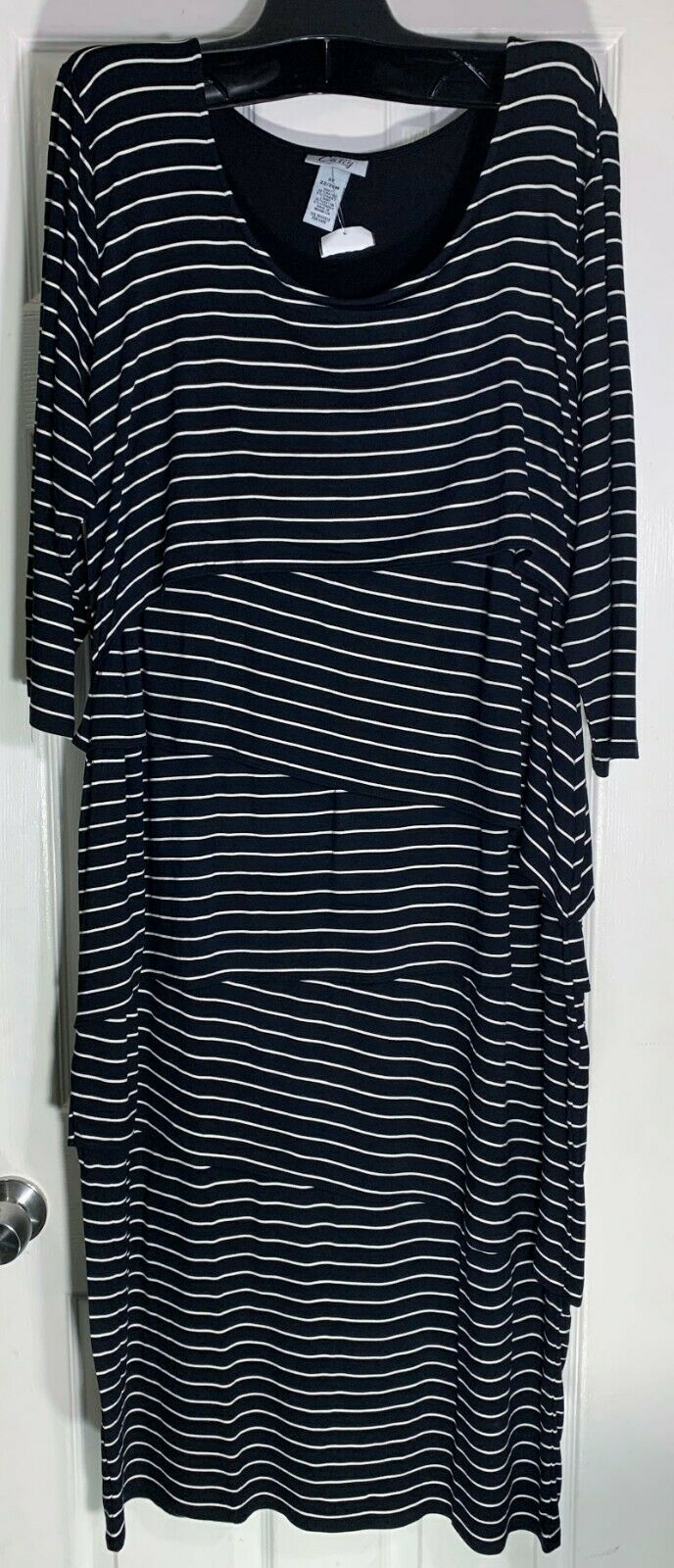 Primary image for CATHERINES WOMEN PLUS SIZE 5X TIERED LAYERS DRESS BLACK & WHITE STRIPED NEW